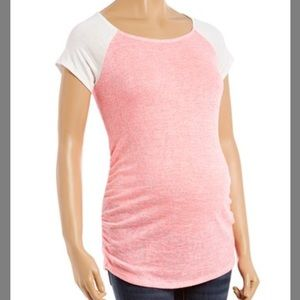 Ivory & Pink Burnout Maternity Baseball Top